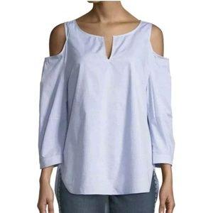 NYDJ womens top S cold shoulder blue white cotton